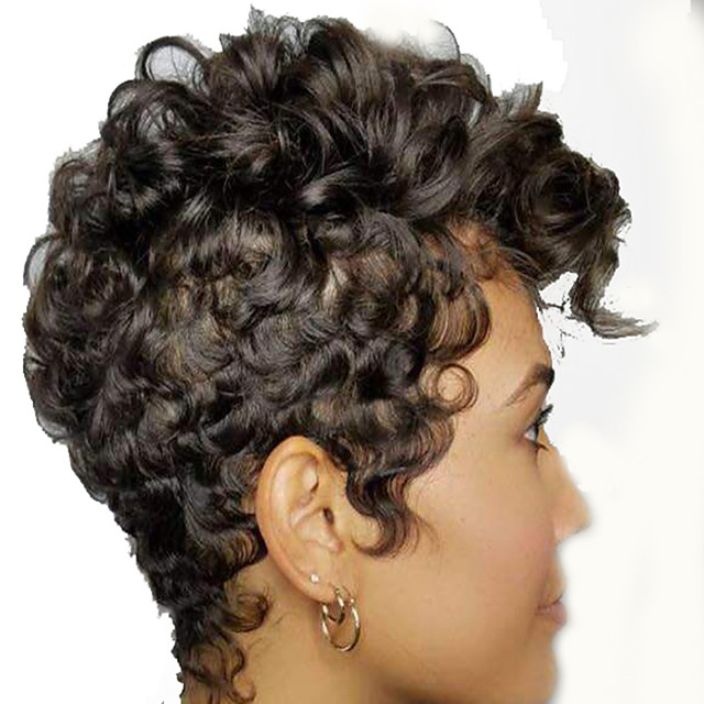 Synthetic Wig Afro Curly Bouncy Curl Pixie Cut Wig Short Black Synthetic Hair 12 inch Women's Fashionable Design Classic Cool Black