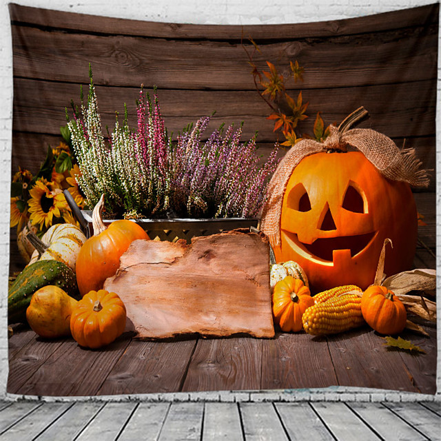 Halloween Wall Tapestry Art Decor Blanket Curtain Picnic Tablecloth Hanging Home Bedroom Living Room Dorm Decoration Psychedelic Pumpkin Haunted Scary Polyester