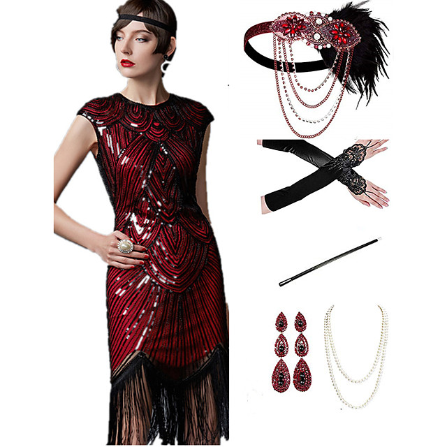 The Great Gatsby 1920s Vintage Vacation Dress Flapper Dress Outfits Masquerade Prom Dress Women's Tassel Fringe Costume Red+Black / Red+Golden / Coral Red Vintage Cosplay Party Prom / Body Jewelry