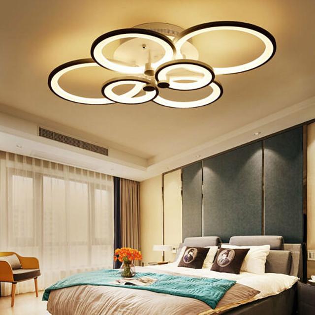 6-Light LED Ceiling Light Flush Mount Lights Circle Design Modern Style Simplicity Acrylic 90W Living Room Dining Room Bedroom Light Fixture