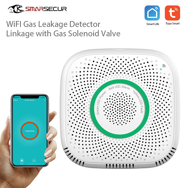 SMARSECUR Wi-Fi Leakage GAS Detector Alarm For Tuya Smart life Smart Home Security System work with with manipulator