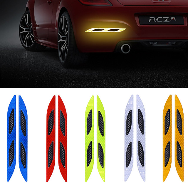 2pcs/lot Car Wheel Eyebrow Reflective Warning Strip Stickers Safety Warning Light Reflector Protective Strips car styling 5colors