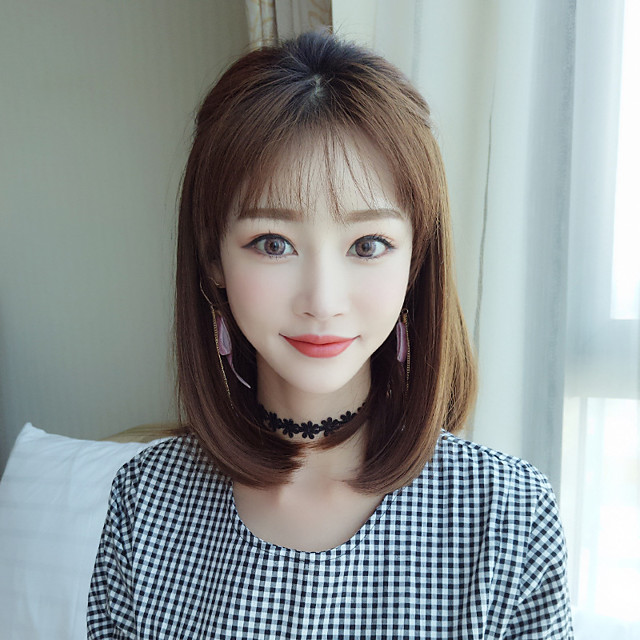 Synthetic Wig kinky Straight With Bangs Wig Short Brown Synthetic Hair 14 inch Women's Classic Exquisite Fluffy Brown