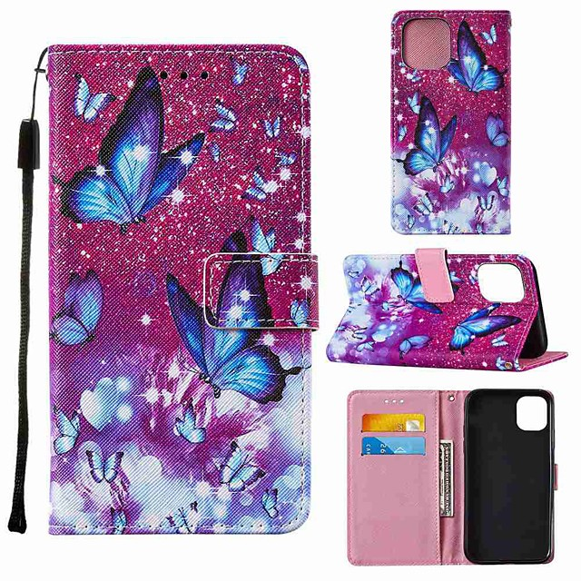 Case For Apple iPhone 12 iPhone 11 Pro Max iPhone 11 Pro Wallet Card Holder with Stand Full Body Cases Purple Butterfly PU Leather TPU for iPhone 11 iPhone Xs Max iPhone Xr iPhone Xs iPhone X