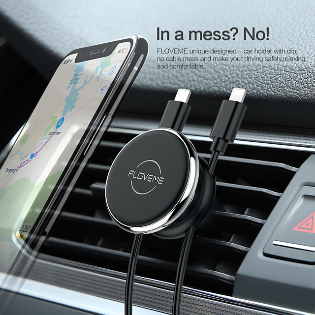 Car Mount Stand Holder Air Outlet Clip Line Bracket 360Rotation Magnetic Type With Line Storage For 6 Inch Smart Phone Bracket