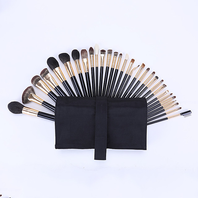 30 Pcs Animal Hair Makeup Brush Sets Imitation Ebony Wood Handle Blush Brush Foundation Brush Eye Shadow Brush Eyebrow Brush Lip Brush Makeup Brush Soft Hair High-match Professional Set