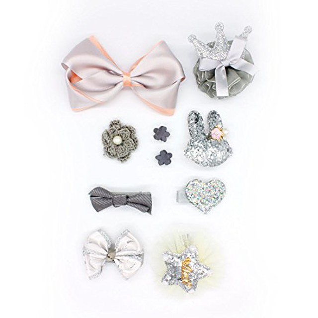 oralpart pet hair bows with flower/bowknot/crown dog cat hair accessories with different pattern pack of 10 (grey)