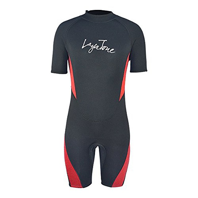 layatone shorty wetsuit men women 3mm neoprene suit canoeing surfing scuba diving shorty suit adults thermal one piece swimsuit wet suit (red,4xl)