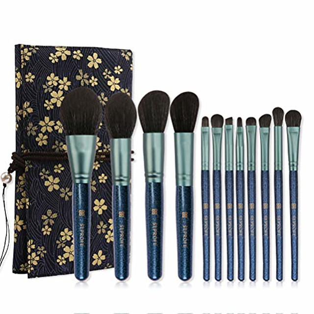 christmas gift linen printing package makeup brush set with 12 pics & #40;blue& #41;
