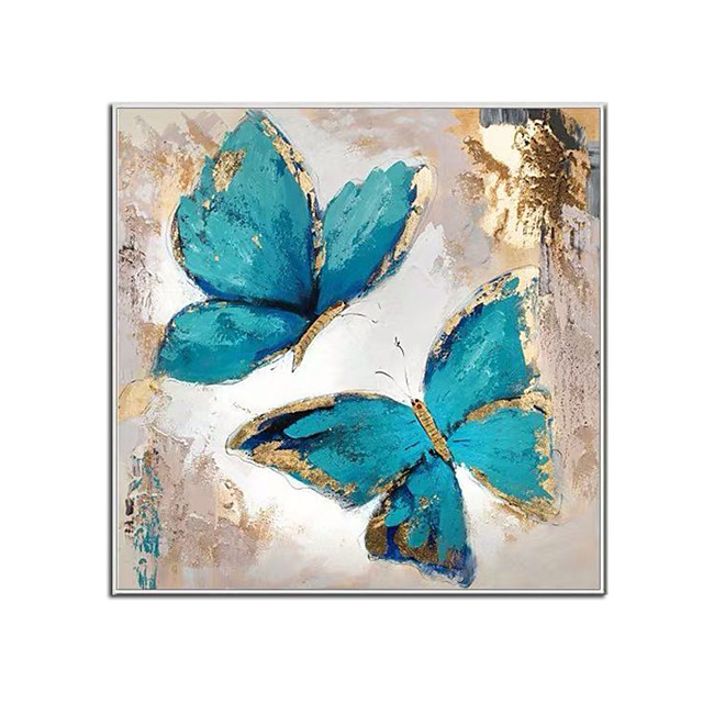 100% Hand Painted Contemporary Blue Butterfly Oil Paintings Modern Decorative Artwork on Rolled Canvas Wall Art Ready to Hang for Home Decoration Wall Decor