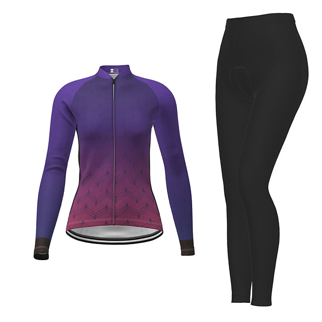 21Grams Women's Long Sleeve Cycling Jersey with Tights Winter Polyester Purple Gradient Bike Jersey Tights Clothing Suit Breathable Quick Dry Moisture Wicking Back Pocket Sports Gradient Mountain