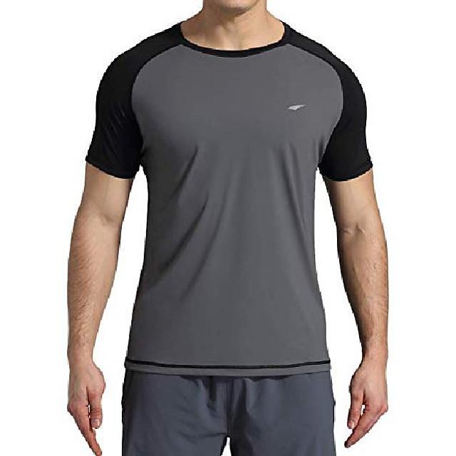 men's rashguard upf 50+ short sleeve swim shirt(gray l)