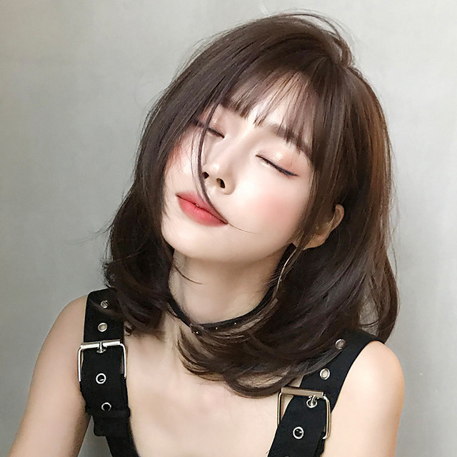 Synthetic Wig Loose Curl Bob With Bangs Wig Short Brown Black Black / Brown Synthetic Hair 16 inch Women's Classic Ombre Hair Exquisite Brown