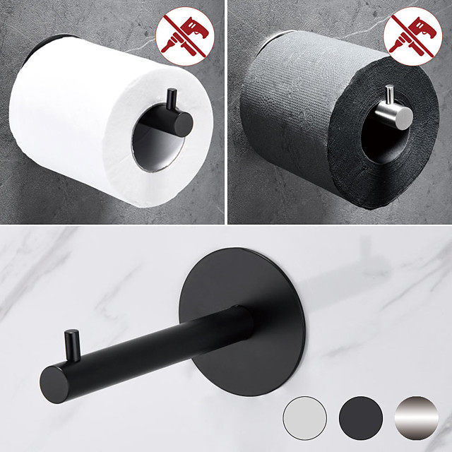Toilet Paper Holder Round New Design Self-adhesive Stainless Steel Bathroom Roll Paper Shelf Wall Mounted 1pc