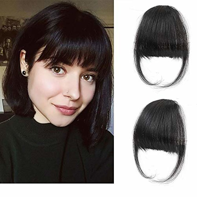 clip in air bangs remy human hair extensions one piece front neat air fringe hand tied straight flat bangs clip on hairpiece for women & #40;thick natural& #41;