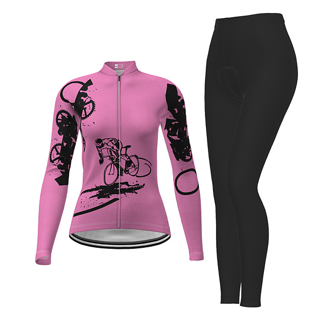 21Grams Women's Long Sleeve Cycling Jersey with Tights Winter Polyester Fuchsia Novelty Bike Jersey Tights Clothing Suit Breathable Quick Dry Moisture Wicking Back Pocket Sports Novelty Mountain Bike