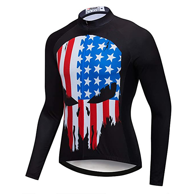 21Grams Men's Long Sleeve Cycling Jacket Black National Flag Bike Jersey Top Mountain Bike MTB Road Bike Cycling UV Resistant Breathable Quick Dry Sports Clothing Apparel / Stretchy