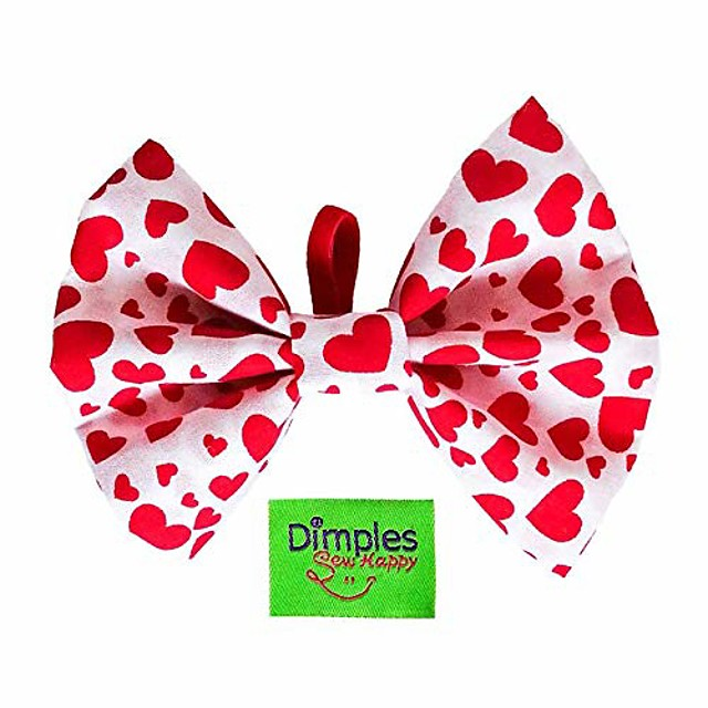 dimples dog bow tie – valentine hearts // perfect bow tie for dogs – dog accessories handmade in ireland – original dog owner gifts – canine accessories