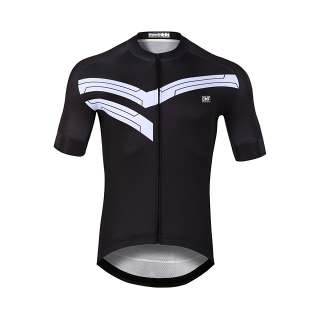 CAWANFLY Men's Short Sleeve Cycling Jersey Black Bike Jersey Top Mountain Bike MTB Road Bike Cycling Quick Dry Sports Clothing Apparel / Stretchy