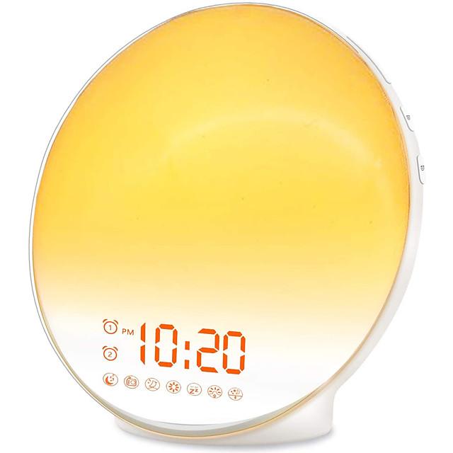 Wake Up Light Sunrise Alarm Clock for Kids Heavy Sleepers Bedroom with Sunrise Simulation Sleep Aid Dual Alarms FM Radio Snooze Nightlight Daylight 7 Colors