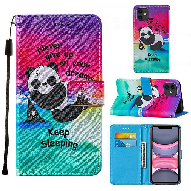 Case For Apple iPhone 12 iPhone 11 Pro Max SE 2020 XS Max XR X 7 8 Plus 6 6s Plus Wallet Card Holder with Stand Full Body Cases Word Phrase Panda PU Leather