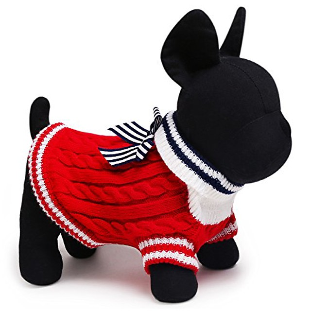 hot sale navy dog sweater 2 color size xxs-l small and large dog clothes clothing for chihuahua yorkshire (l, red)