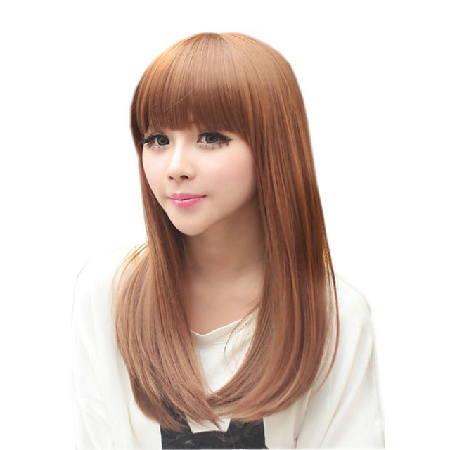 Synthetic Wig Natural Straight Neat Bang Wig Medium Length Dark Brown Synthetic Hair 22 inch Women's Fashionable Design Comfy Dark Brown