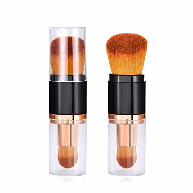 wholesales 30 pcs dual ended retractable makeup brush-premium oval foundation brushes kabuki brushes blush brushes contour brushes blending brushes powder brushes for liquid makeup with cover,