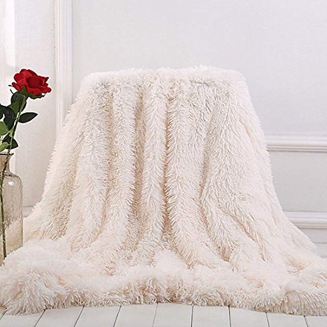 plush super soft blanket bedding sofa cover furry fuzzy fur warm throw qulit cozy couch blanket for winter & #40;63