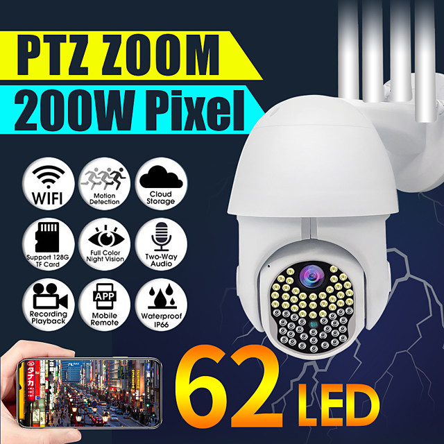 1080P HD IP CCTV era Surveillance IP67 Waterproof Outdoor Camera Wi-Fi PTZ 2MP 62LED H.264 Security IR Camera
