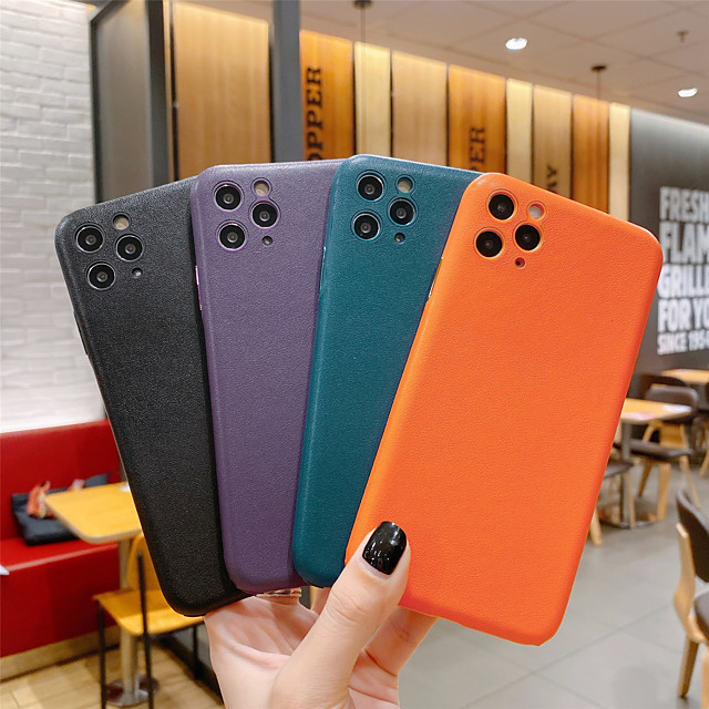 Solid Colored Leather Protection Cover for Apple iPhone Case 11 Pro Max X XR XS Max 8 Plus 7 Plus SE(2020)