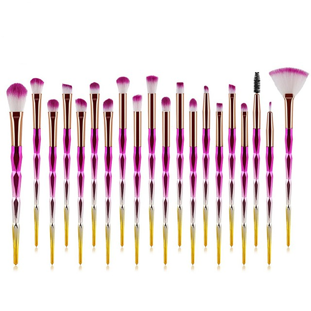 20 Pcs Colorful Gradient Makeup Brushes Professional Beauty Tools Foundation Blush Eye Shadow Nose Brush Contour Concealer