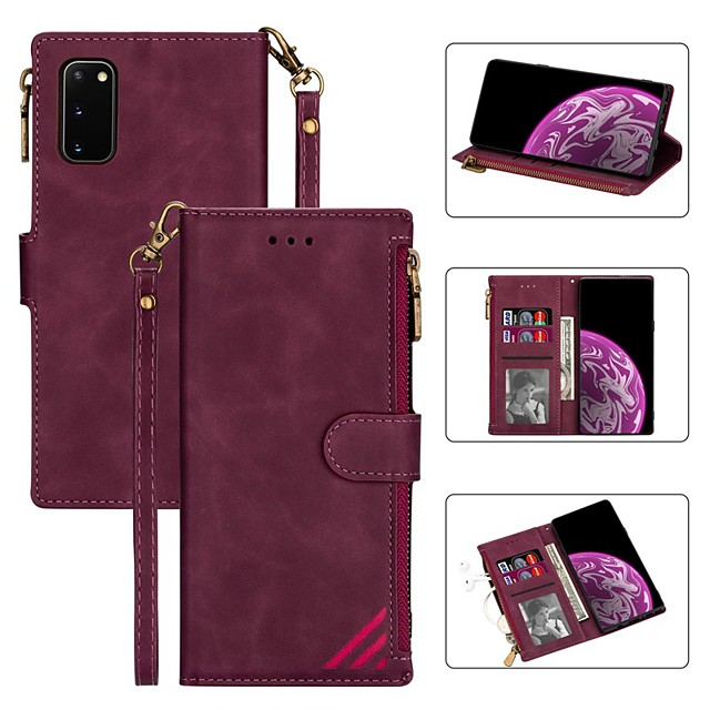 Case For Samsung Galaxy S20 Ultra S10E S9 Plus S8 S7 Edge Wallet Card Holder with Stand Full Body Cases Solid Colored PU Leather