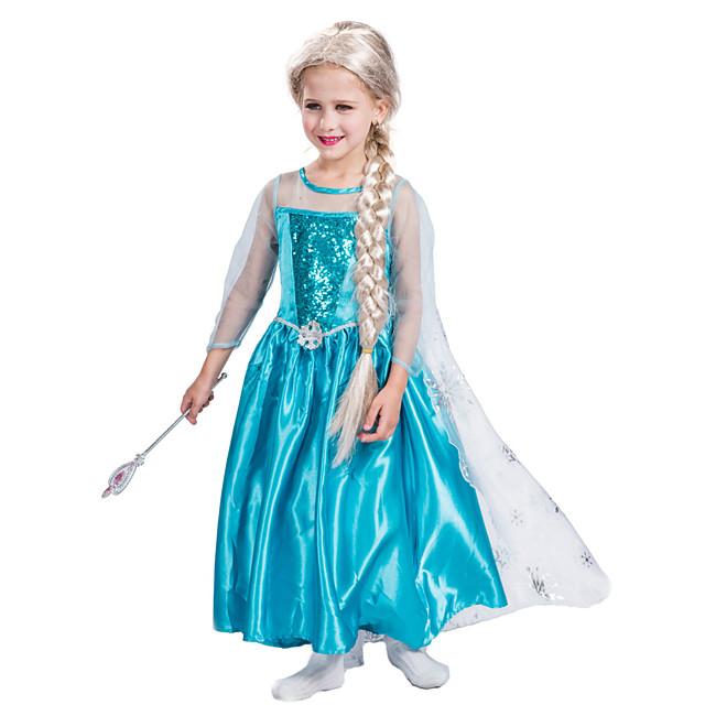 Princess Dress Masquerade Flower Girl Dress Girls' Movie Cosplay A-Line Slip Vacation Dress Blue Dress Children's Day Masquerade Polyester Organza