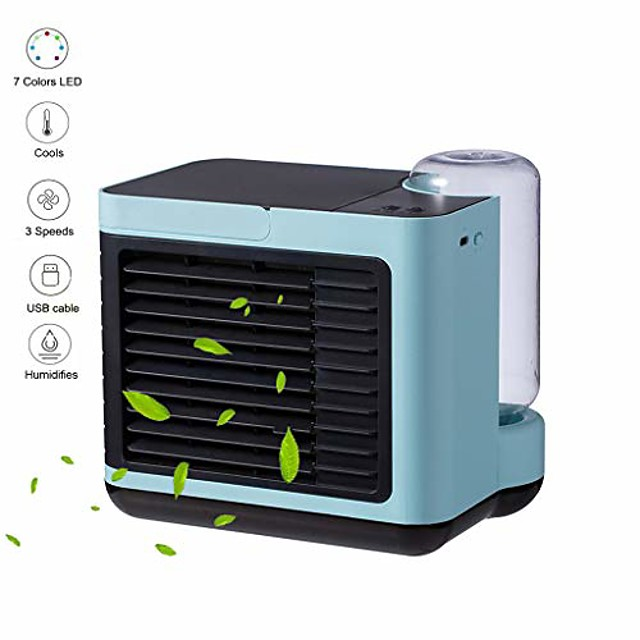 personal air cooler,portable air conditioner, mini air coolers,4-in-1 portable table fan with 3 fan speeds, mini air conditioner for office, usb charging, quiet, 7-color night light (blue (2020))