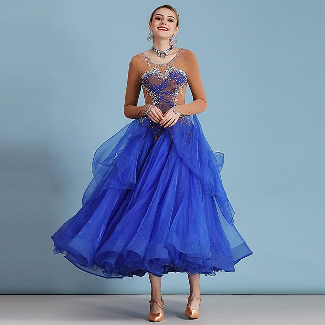 Ballroom Dance Dress Lace Crystals / Rhinestones Women's Performance Long Sleeve High Lace Organza Ice Silk