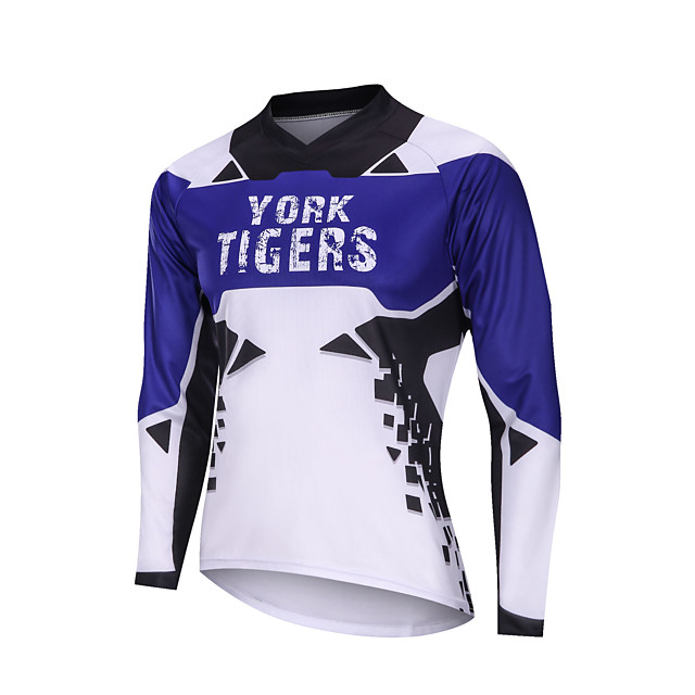 YORK TIGERS Men's Long Sleeve Cycling Jersey Downhill Jersey Blue / White Bike Tee Tshirt Sports Clothing Apparel / Advanced / Micro-elastic