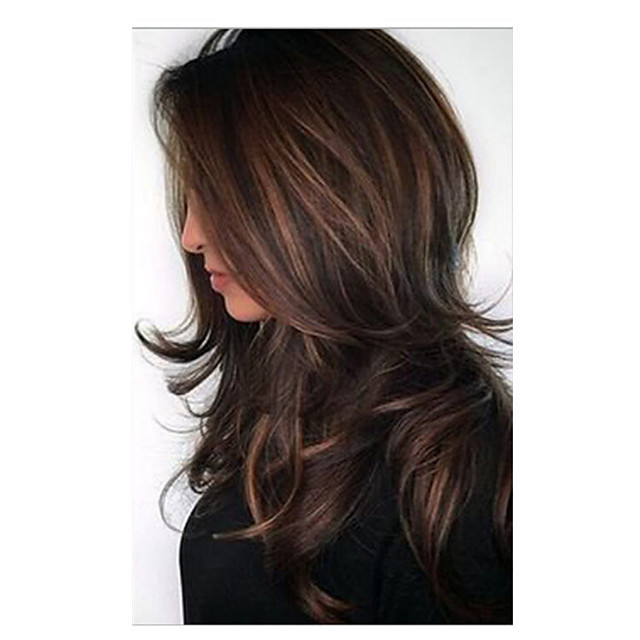 Synthetic Wig Bouncy Curl Asymmetrical Wig Medium Length Light Brown Synthetic Hair 24 inch Women's Fashionable Design Ombre Hair Light Brown