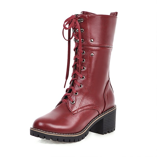 Women's Boots Block Heel Boots Wedge Heel Round Toe Mid Calf Boots British Daily PU Solid Colored Black Red Brown / Mid-Calf Boots