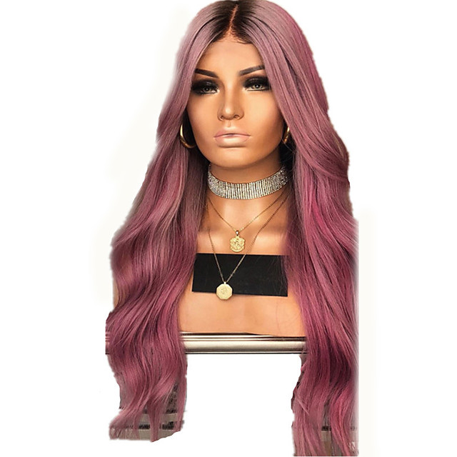 Synthetic Wig kinky Straight Natural Straight Middle Part Wig Long Pink+Red Synthetic Hair 28 inch Women's Fashionable Design Comfortable Middle Part Pink