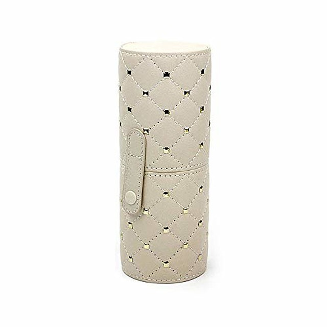 pu leather rivets studded portable cosmetic brush travel case makeup brush holder cup & # 40; l& #41;