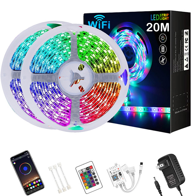 LED Strip Lights 65ft 2x10m WIFI App Intelligent Control 5050 RGB LED Smart Strip Light with IR 24 Key Controller or DC12V Adapter Kit