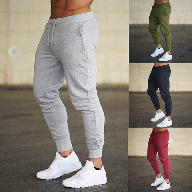 Men's Sweatpants Joggers Jogger Pants Athletic Bottoms Drawstring Summer Fitness Gym Workout Performance Running Training Bodybuilding Breathable Soft Sweat-wicking Normal Sport Black Red Army Green