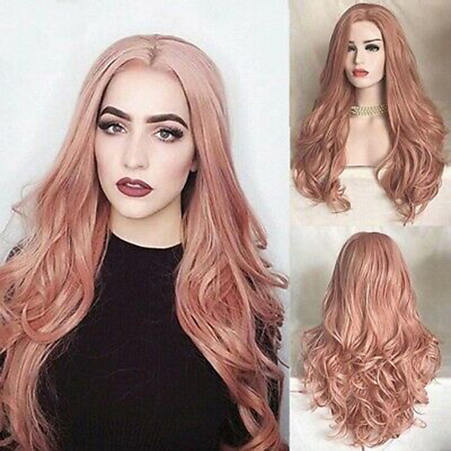 Synthetic Wig Curly Middle Part Wig Very Long Pink Synthetic Hair Women's Fashionable Design Party Exquisite Pink
