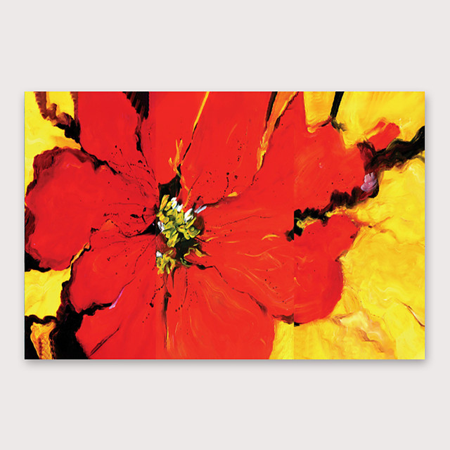 Oil Painting Hand Painted - Abstract Floral / Botanical Modern Stretched Canvas