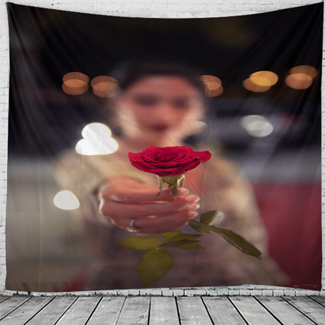 Valentine's Day Holiday Party Wall Tapestry Art Decor Blanket Curtain Picnic Tablecloth Hanging Home Bedroom Living Room Dorm Decoration Rose Polyester