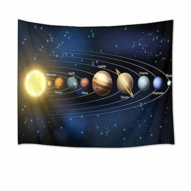 universe tapestry planets and stars in solar system wall hanging space tapestries for bedroom living room dorm party wall decor,80wx60h inches