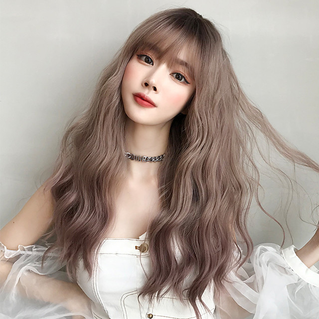 Synthetic Wig Loose Wave With Bangs Wig Very Long Brown Pink Black Synthetic Hair 22 inch Women's Classic Exquisite Fluffy Brown