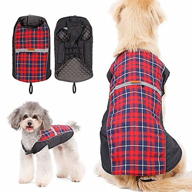 dog reflective winter jacket plaid reversible vest warm coat (s(back:12.2inch;chest:16.9-19.7inch), red)