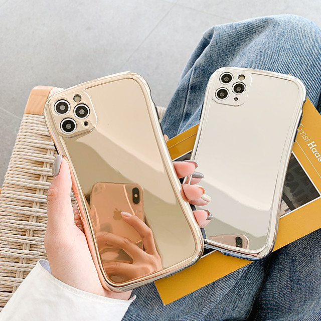 Case For Apple iPhone 7 8 7plus 8plus X XR XS XSMax SE(2020) iPhone 11 11Pro 11ProMax Shockproof  IMD  Mirror Back Cover Solid Colored TPU